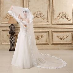 Beautiful Three-tier Chapel Tulle Wedding Veils With Lace Applique Edge – USD $ 69.99