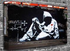 Banksy Hooded Man Street Graffiti Stencil Art Canvas Art Canvas Print Picture print Size: (32