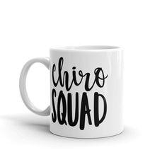Chiro squad // chiropractic mug - Chiropractic Therapy Chiropractic Assistant, Chiropractic Humor, Chiropractic Therapy, Chiropractic Office, Chiropractic Adjustment, Chiropractic Benefits, Work Bulletin Boards, Squad, Coffee Mugs
