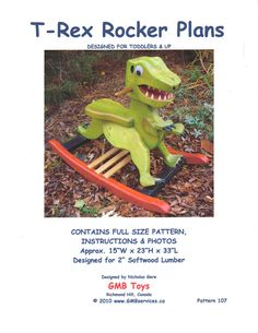Woodworking Plans for Rocking T-Rex Dinosaur for Toddlers 107 Dino Rocker by GMBToys on Etsy Woodworking Toys, Woodworking Projects, Woodworking Furniture, Rocking Horse Plans, Rocking Horses, Dinosaurs For Toddlers, Wood Patterns, Wood Toys, T Rex