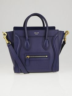 c22ad927191 Celine Navy Blue Smooth Leather Nano Luggage Tote Bag