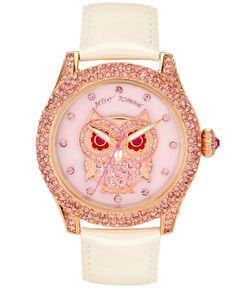 Betsey Johnson Watch, Women's White Leather Strap BJ00019-17 - Betsey Johnson - Jewelry & Watches - Macy's