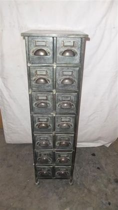 Shabby chic vintage metal cabinets with drawers