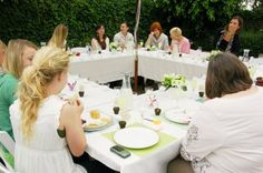 french baby shower, large square table made with 4 folding tables