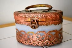 Vintage Box Purse 1940s 1930s copper lucite by DragonfishAntiquity