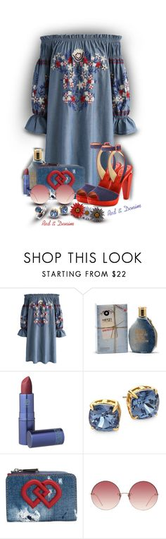 """""""❤️ Red & Denim"""" by sarahguo ❤ liked on Polyvore featuring Chicwish, Diesel, Lipstick Queen, Tory Burch, Dsquared2, Linda Farrow, Christian Louboutin and Ti Sento"""