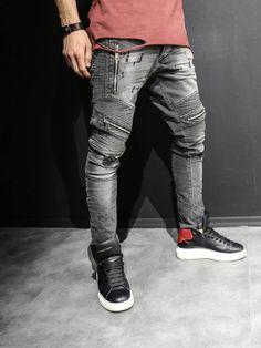 2Y Men Slim Fit Distressed Motor Biker Zippers Jeans - Washed Black d1f93d6669
