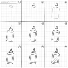 How to draw a bottle of glue.