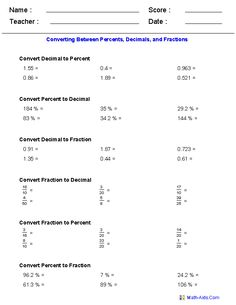 math worksheet : 1000 images about fractions percents decimals on pinterest  : Fraction Decimals Percents Worksheets