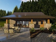 050H-0158: Small Bungalow House  Plan for Vacation or Rental Property