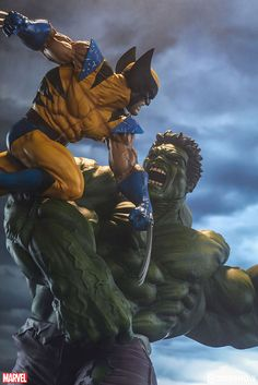 Marvel Hulk and Wolverine Maquette by Sideshow Collectibles Wolverine Tattoo, Hulk Tattoo, Wolverine Art, Marvel Comics Art, Hulk Marvel, Marvel Heroes, Hulk Avengers, Deadpool Wallpaper, Marvel Wallpaper