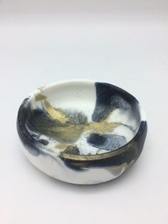 Black Gold and White Marbled Resin Jewellery by adventuresinresin