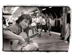 Gitano, musician, photographed on the Boston MBTA Subway Platform circa 1999-2000