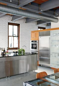 Industrial stainless steel, perfect in this setting.