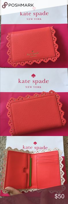 NWT Kate Spade Cecelia cardholder Orange/salmon color with lace like borders. 4 cardslots & 2 other slots that could be used to fit more cards. This wallet has no snap or zipped closure. kate spade Bags Wallets