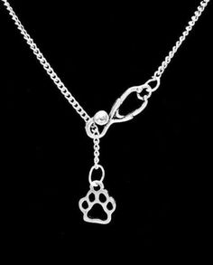 Stethoscope Hollow Paw Print Tiger Bulldog Veterinarian Gift Y Lariat Necklace
