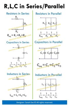 Formulas to Solve Resistors, Inductors and Capacitors in Series and Parallel - Electrical Sheets Electrical Engineering Books, Electrical Projects, Electronic Engineering, Mechanical Engineering, Mechatronics Engineering, Chemical Engineering, Learn Physics, Physics And Mathematics, Physics Formulas