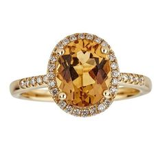 Anika and August Women's 14-karat Gold Oval-cut Golden Beryl and Diamond Ring
