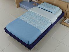 #Letto Sommier medium una piazza e 1/2 in tessuto blu. LH12 catalogo Start Solution www.moretticompact.com