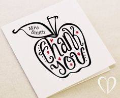 Custom 'Thank You' Apple for the teacher card by CookieDesignCards