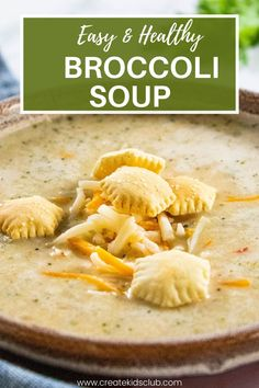 An easy and healthy broccoli soup recipe your family will love! It's packed with veggies (broccoli and cauliflower) then is pureed into a creamy cheesy soup that can be used as a main dish or side dish. #cheesybroccolisoup #healthybroccolisouprecipe #easysouprecipes #kidfriendlysouprecipe Broccoli Soup Recipes, Easy Soup Recipes, Lunch Recipes, Easy Dinner Recipes, Budget Recipes, Dinner Ideas, Vegetable Soup Healthy, Vegetable Soup Recipes, Healthy Vegetables