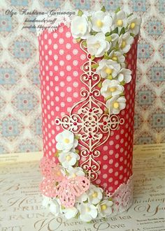 Pencil holder, I used Graphic45 Botanical Tea Collection and Wycinanka cheapboard