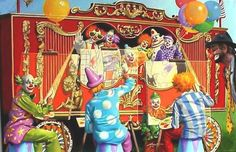 Clowns circus illusion original large 40x60 oils on by rustyart
