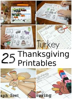 Gobbling Fun Printables for Thanksgiving - with themed packs, language, math and other printables from 3 Dinosaurs & Royal Baloo Free Thanksgiving Printables, Thanksgiving Activities For Kids, Fun Fall Activities, Thanksgiving Ideas, Kids Learning, Learning Styles, Learning Activities, Teaching Kids, Kids Cards