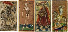 Death cards from a Mid-XV century Italian tarot, The Visconti-Sforza Tarot, one of the four cards in the Victoria and Albert Museum, the Cary-Yale Visconti deck Tarot Death, Luxury Card, Renaissance Paintings, Small Cards, Italian Renaissance, Picture Cards, Victoria And Albert Museum, Archetypes, Tarot Cards