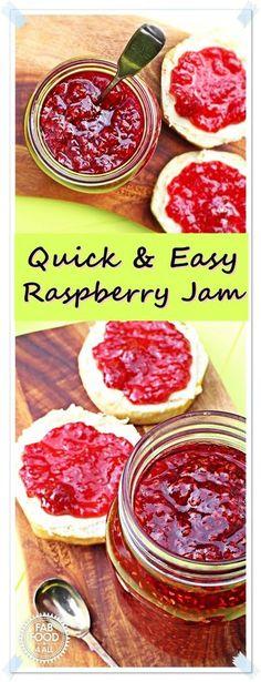 Quick & Easy Raspberry Jam - no pectin! The best raspberry jam I've ever tasted! @FabFood4All Raspberry Jam No Pectin, Raspberry Recipes, Fruit Recipes, Vegan Recipes Easy, Vegetarian Recipes, Yummy Recipes, Homemade Raspberry Jam, Jelly Recipes, Sweets