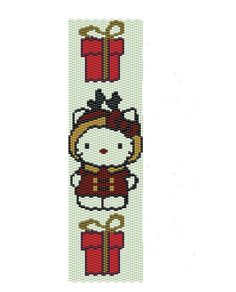 Christmas Hello Kitty peyote pattern -seed beads peyote cuff pattern (Buy 2 patterns, Get 1 Free). $3.50, via Etsy.