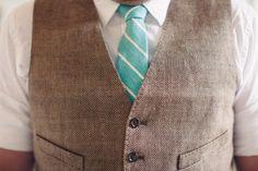 cute -groomsmen rolled up sleeves, brown vest, striped turquoise tie..groom turquoise vest brown tie.