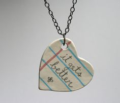 Positive Quote Heart Ceramic Necklace by MangoTreeCeramics on Etsy