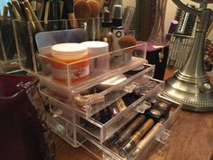 My makeup drawer organizer is a store bought acrylic organizer that stores and compartmentalizes all my makeup, brushes and face creams. Makeup Storage Organization, Think Small, Acrylic Organizer, Face Creams, Wedding Tattoos, Drawer Organisers, Animal Quotes, Outdoor Travel, Makeup Brushes