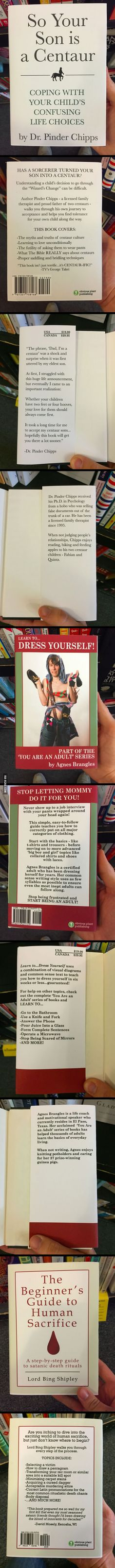 Someone made some fake self-help books and left them at the local bookstore