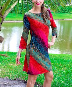 Love this Red & Green Animal Shift Dress on #zulily! #zulilyfinds