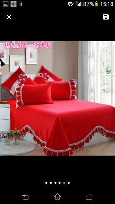 Bed Cover Design, Bed Design, Bedroom Closet Design, Bedroom Decor, Bed Sheet Painting Design, Purple Bedding Sets, Wedding Bedroom, Kids Curtains, Ruffle Bedding