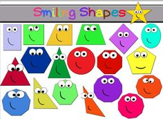 This is a set of 20 different shape clipart. All of the images come in color shapes with faces, plain geometric shapes in color and black and white. There are 120 total images images in PNG format and 60 images in JPG shapes Shape Chart, Total Image, Pink Minnie, Teaching Aids, Color Shapes, Different Shapes, Geometric Shapes, Geometry, Alphabet