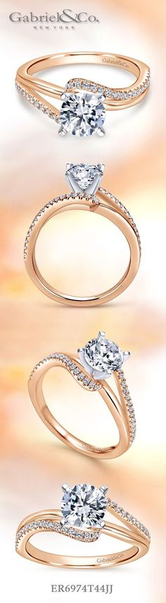 Gabriel & Co.-Voted #1 Most Preferred Fine Jewelry and Bridal Brand. 14k White/rose Gold Round Bypass Engagement Ring