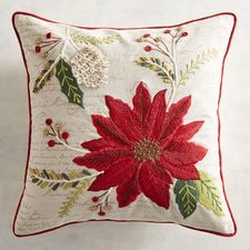 Sure, you can always bring home a poinsettia, but why not decorate with poinsettias that will last year after year? Our pillow features an embroidered crimson poinsettia with holly branches and even some sprigs of mistletoe. Christmas Rugs, Christmas Cushions, Christmas Sewing, Christmas Embroidery, Christmas Pillow, Xmas, Christmas Bathroom Sets, Holly Pictures, Unique Christmas Decorations