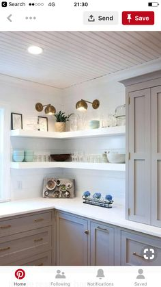 Clever ideas for open kitchen shelving and storage. decor diy Kitchen shelves in. Clever ideas for open kitchen shelving and storage. decor diy Kitchen shelves instead of cabinets Diy Kitchen Shelves, Grey Kitchen Cabinets, Kitchen Cabinet Design, Kitchen Ideas, Kitchen Units, Kitchen Grey, Kitchen Paint, White Cabinets, Open Kitchen Shelving