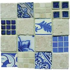 Mosaic Madness Blue White Chairo Montage 8 x 8 Hand Painted Ceramic Tile Painting Ceramic Tiles, Mosaic Tiles, Blue Tiles, White Tiles, Kitchen Counter Tile, Greece House, Greek Pattern, Ocean House, Mosaic Madness