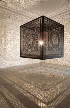 Glazed Copper Globe Ceiling Light Ceiling Pendant Lights - Carved wood lace like lighting design inspired islamic decoration patterns