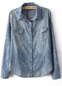 Light Blue Long Sleeve Constellation Print Denim Blouse