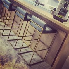 Bar stools just arrived at the McCarron & Co Notting Hill showroom #mccarronandco #design #interiordesign #kitchen #trend #marble #gaggenau #corrian