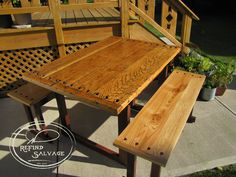 Vintage oak workbench transformed into a wonderful dining table.  Custom sitting benches match the table to make a perfect set.  Signature ReFind Salvage.