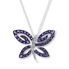 Amethyst Butterfly Necklace with Diamonds Sterling Silver