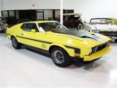 1973 Mustang Mach 1 sportsroof in excellent condition inside and out. This is a real Mach 1 Q Code with a 351cid 4 barrel, with automatic transmission and factory air conditioning. It has been beautifully restored. Color changed to Medium Bright Yellow with a tan interior. Other equipment includes front and rear spoilers, power disc brakes, power steering, added Magnum 500 wheels and AM/FM radio.
