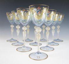 SET of 10 Antique SALVIATI Enamel VENETIAN WINE GOBLETS Nude Glass Water MOSER