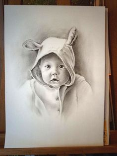 personalized portrait , child portrait , custom portrait , pencil drawing , dry brush oil technique , child portrait on Photo